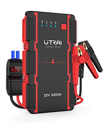 UTRAI ジャンプスターター 12V車用 13000mAh 瞬間最大出力1000A 6Lガソリンエンジン車 / 4.5Lディーゼル車対応 バッテリー ブースター スマートブースターケーブル モバイルバッテリー機能 LED緊急ライト 安全保護システム 12ヶ月保証