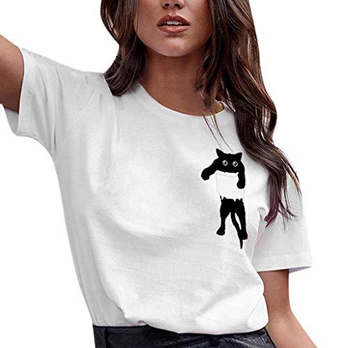 Auifor vrouwen katten-print T-shirt-losse korte mouwen casual wilde blouses casual eenvoudige truien bovenkant