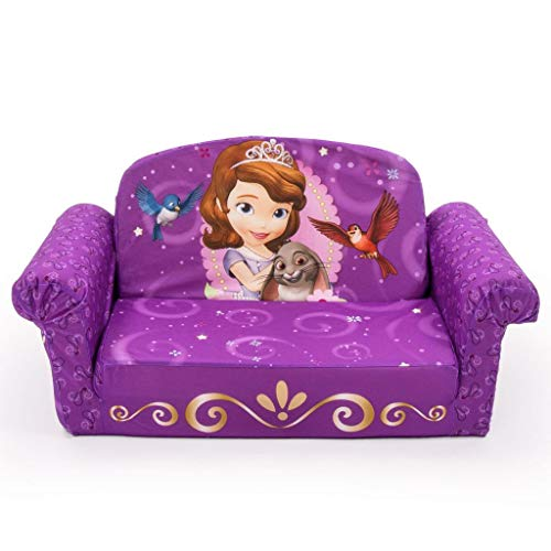 Marshmallow Furniture 2-in-1 Flip Open Couch Bed Sleeper Sofa Kid's Furniture for Ages 18 Months and Up, Sofia The First