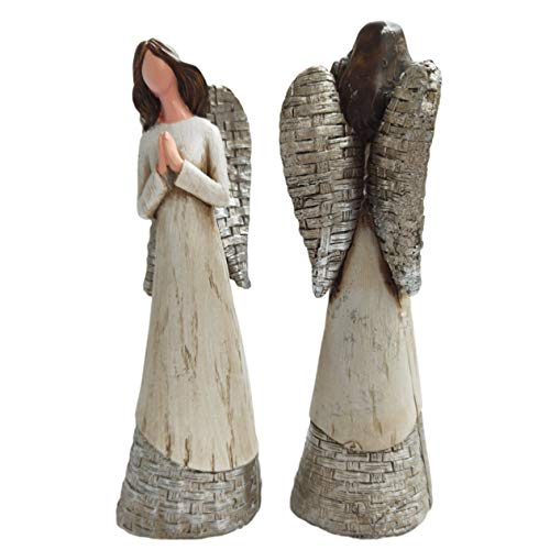 GAOBEI Heart Angel Statues Figurine Gifts Praying Angel Sculpture Figurine for Home Decoration (8' H Angle B 2PCS)