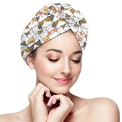 Toalla de secado de pelo para mujer, turbante con botón dibujado a mano, diseño de gatos lindos suaves y absorbentes, gorro de baño turbante para cabello largo y rizado