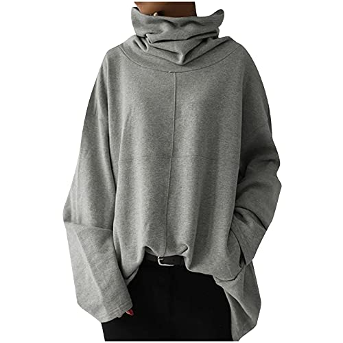 Plus Size Tops for Women Turtleneck Sweatshirt Oversized Long Sleeve Blouse Patchwork Pullover Fall Solid Color Tops Gray