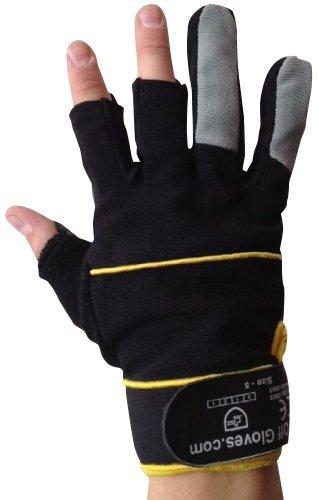 Fingerlose Handschuhe – Arbeiten, Elektriker, Bauherren, Installateure, DIY und Allgemeine Arbeitskleidung. (Extra groß EU 11) - 2