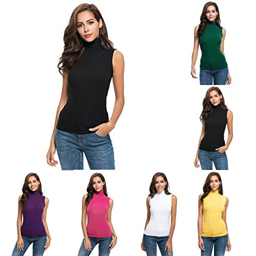Yahoo Frauen-T-Shirt mit hohem Kragen und hohem Kragen Damen Sommer Kurzarm Brief Rollkragen Tops T-Shirt Top Bluse (M, Weiß)