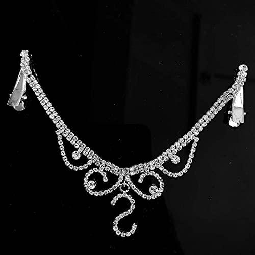Rongxin Exquisito collar con colgante de frente con diamantes de imitación para mujer, collar con colgante de cristal, cadena para el pelo (color metálico: 4)