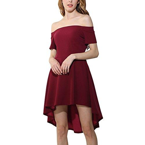 Fanmay Damen Kleider Minikleid Elegant Das Wort Kragen Schwalbenschwanz Rock Swing Kleid A-Linie Sommerkleid Cocktailkleid Abendkleid Minikleid (L, Weinrot)