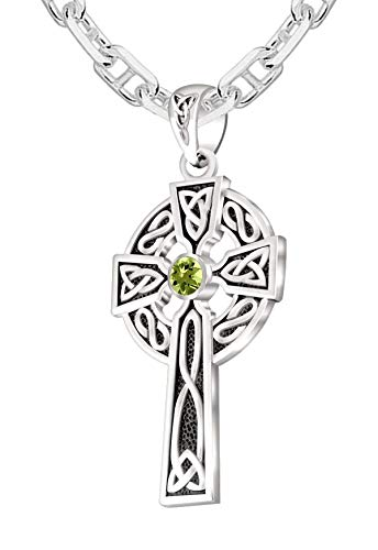 US Jewels Men's 925 Sterling Silver Genuine Peridot August Birthstone 1.5in Irish Celtic Knot Cross Pendant 2.9mm Marine Cable Necklace, 24in