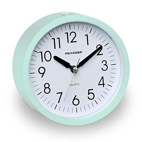 Peakeep Battery Operated Alarm Clock Silent Non Ticking, Gentle Wake, Increasing Alarm Clock Volume, Easy Set (Aquamarine)