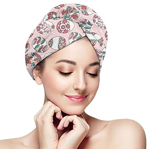 Asciugamano per capelli Uova di Pasqua Fiori Asciugamano in microfibra Per Capelli Spa Asciugacapelli Asciugamani Quick Dry Wrap Per Capelli Brevi Donne Turbante