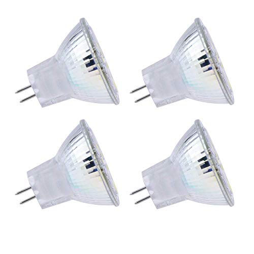 GU4 LED 12V Luz de Techo, Haz 120º, 200LM, Blanco Frio 6000K, MR11 GU4 2W LED Sustituir Halógenos de 10W-20W, No Regulable, AC/DC 12V-24V Foco Empotrable LED para Cocina/Corredor, pack de 4