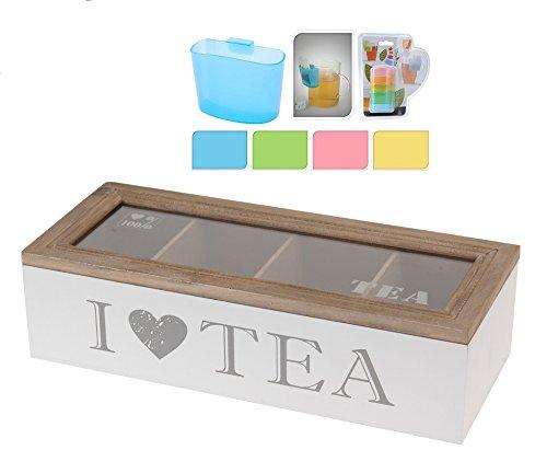 Teekiste 4 Fächer - I Love Tea inkl. Teebeutel-Halter - Teebox Holz - Teekasten - Teedose -