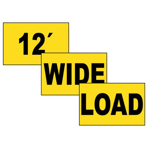 12' Wide Load [ 3-Piece Set ] Sign, 72x12 in. Magnetic for Transportation by ComplianceSigns