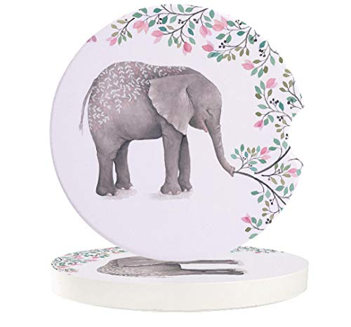 Car Absorbent Stone Coasters, Best Mother Ever Flowers Elephant Coaster Set for Auto, Convenient Finger Slot Fit Most Car, As Gift for Men and Women 6-Piece Set