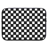 Yan Hill Chequered with Black and White Checkerboard Laptop Sleeve Bag Case Waterproof Neoprene for MacBook Ipad