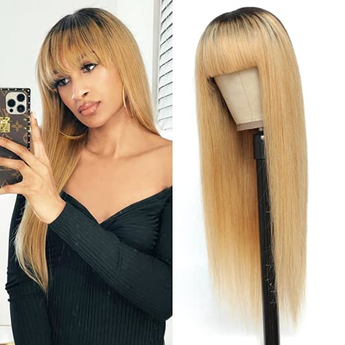 100% Human Hair Wigs with Bangs Brazilian Straight Human Hair Wig #1B/27 Honey Blonde Dark Roots Glueless Non-Lace Wig for Black Women (26 Inch)