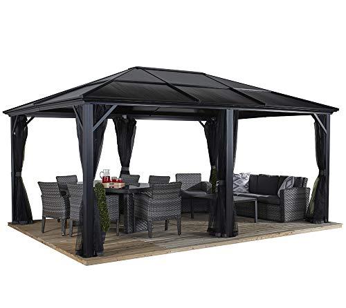 Sojag Aluminium Pavillon Überdachung Gazebo Meridien 12x16 mit Doppelstegplatten inkl. Moskitonetz // 365x485 cm (BxT) // Gartenlaube mit Doppelstegdach