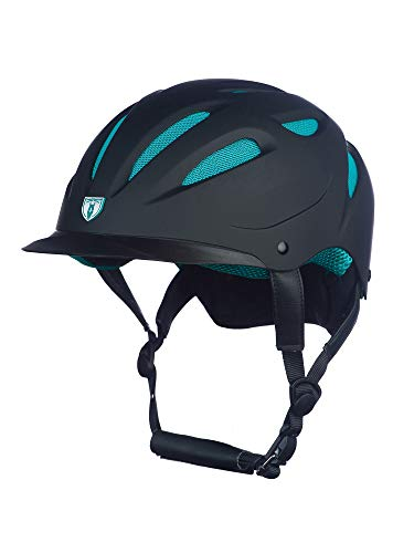 TIPPERARY EQUESTRIAN Horse Riding Helmet - Sportage Hybrid - Lightweight Cooling Horseback Riding Apparel - Adjustable Safety Helmet with Superior Air Flow - Black/Teal - M