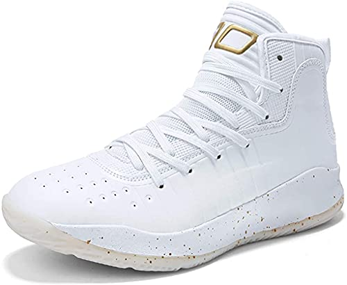 High-Performance Basketball Shoes High Top Gym Training Boots Ankle Boots Outdoor Men Sneakers Athletic Sport White Gold
