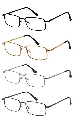 ALWAYSUV 4 Stück Metall Federn-Scharnier Lesebrille Klassische Lesehilfen Sehhilfen Brille