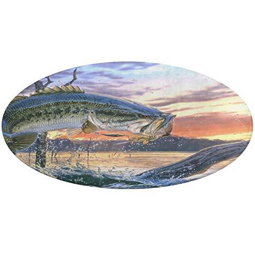 Alfombrilla de Terciopelo Coral Alfombrilla acogedora Alfombrilla de Entrada Alfombrilla lanuda Alfombra de Suelo Big Fish Redonda