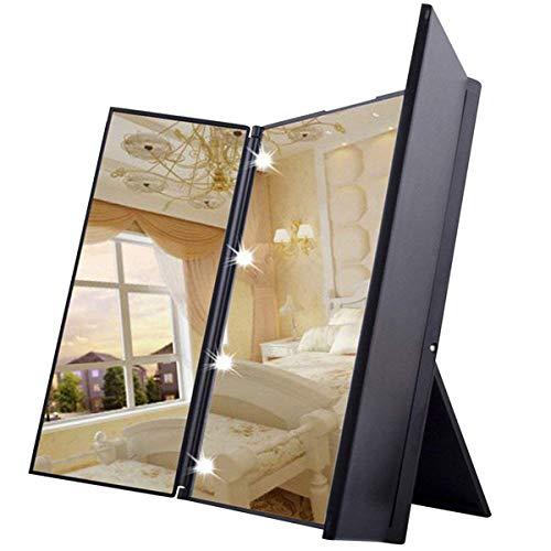 Specchio Trucco 8 LED Specchio Cosmetico Portatile Pieghevole con Supporto Regolabile...