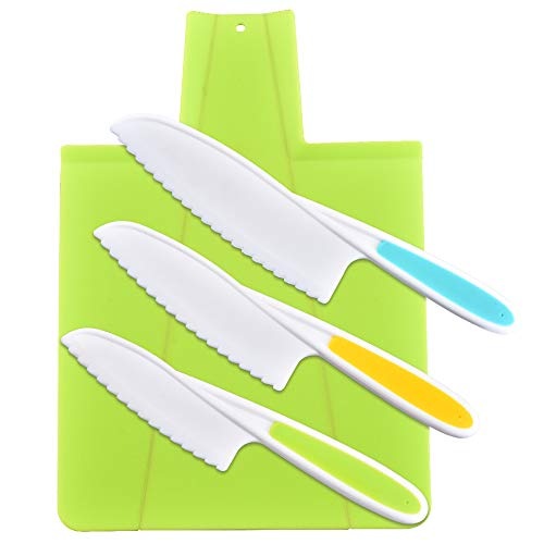 Meilo cuchillos de cocina para niños,Juego de cuchillos de cocina, cuchillos de cocina seguros para niños, cuchillos de nailon para chef(4 unidades)