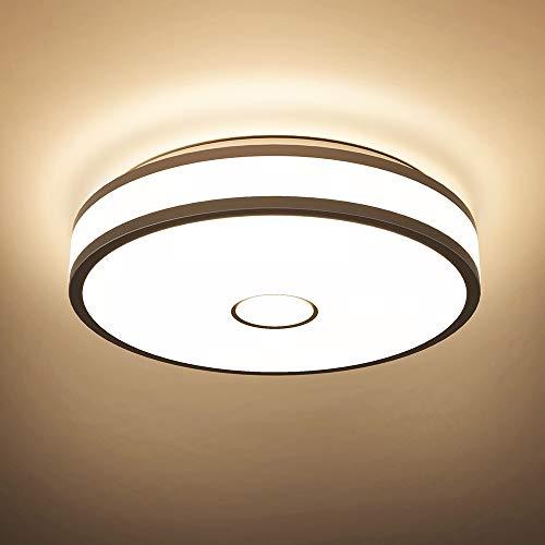 Onforu 18W Plafonnier Salle de Bains, LED Plafonnier IP65 Imperméable, 1600LM Lampe de Plafond 2700K Blanc Chaud, Luminaire Plafonnier Plat pour Cuisine, Salon, Chambre, Balcon, Entrée, Couloir