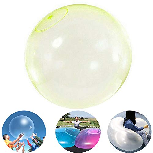 YTYASO Air Water Filled Bubble Ball, Amazing Transparent Tear-Resistant Balloon, Inflatable Blow Up Balloon Toy for Children Outdoor Party Game Inflatable Bubble Ball (Amarillo)
