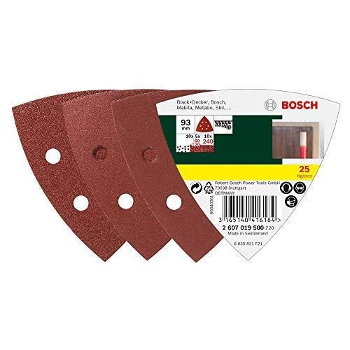 Bosch 25tlg. Schleifblatt-Set verschiedene Materialien für Deltaschleifer (Körnung 60/120/240, 6 Löcher)