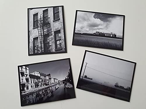 Imanes flexibles, juego de 4 unidades, decoración para nevera, color negro y blanco, paisajes Milán, Loiret, Drôme, Nueva York