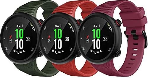 Gransho Correa de Reloj Compatible con Garmin Forerunner 45 / Forerunner 45S / Swim 2, Silicona Correa Reloj con Acero Inoxidable Hebilla desplegable (3-Pack H)