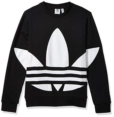 Adidas Originals Sudadera Juvenil con Cuello Redondo y trébol Grande, Negro/Blanco, Small