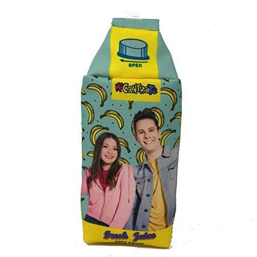 Me Contro Te - Estuche vacío con forma de cartón de leche - Celeste con colgante de plátano