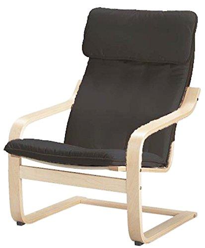 Funda de repuesto para silla Poang de algodón, fabricada compatible con IKEA Poang Sillón Funda Solo Gris Oscuro