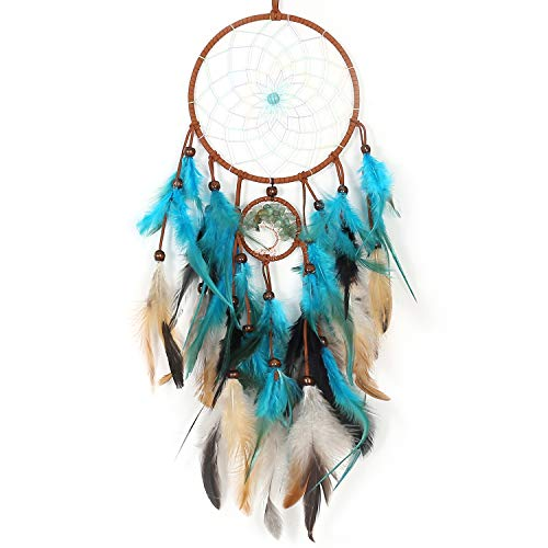 TEESHLY Dream Catchers with Feather Handmade Dreamcatchers for Boho Wall Hanging Decoration, Decoration Ornament Festival Gift (Teal)