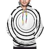 NigtafeColla Sudadera con capucha para hombre, diseño abstracto monocromático con flores y hojas de papel laminado, talla XXL