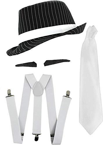 Disfraz de gánster de la mafia de Al Capone de los años 20, juego de accesorios en blanco y negro con sombrero de rayas, cejas, corbata blanca y tirantes blancos