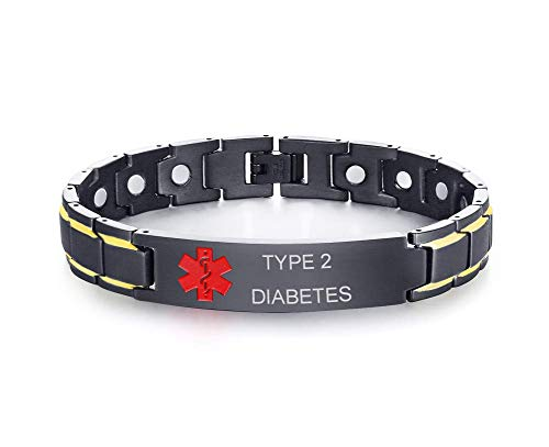 %5 OFF! XUANPAI Type 2 Diabetes Stainless Steel Magnet Therapy Medical Alert ID Bracelet for Men Wom...