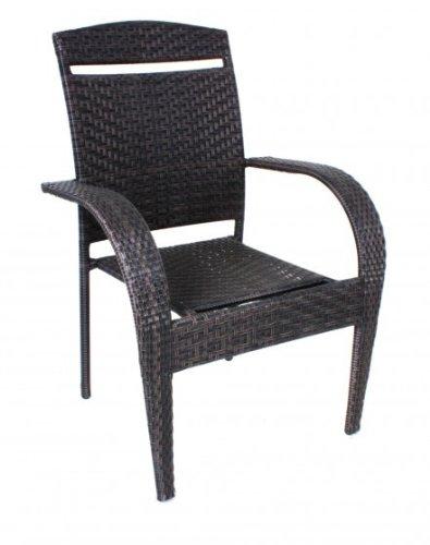Chaise élégante de jardin avec table et chaises empilables en rotin marron foncé