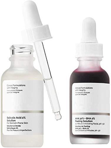 Aha 30% + bha 2% Peeling Solution 30ml,10-Minute exfoliating Facial, Salicylic Acid 2% Solution, Face Peeling Solution, Exfoliating Face Brighten Serum Face Skin Care,2 PCS (Style B)