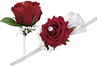 FAYBOX Wedding Prom Velvet Rose Rhinestone Corsage and Boutonniere Set with Silvery Ribbon Stretch Bracelet (Red)