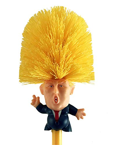 Donald Trump Toilet Brush Bowl With Holder Hilarious White Elephant Gag Novelty Funny Impeach Trump