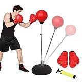 Ejoyous Punching Ball Enfants, Support de Balle de Poinçon Réglable en Hauteur 125-140cm, Ensemble de Boxe pour Ballon de...