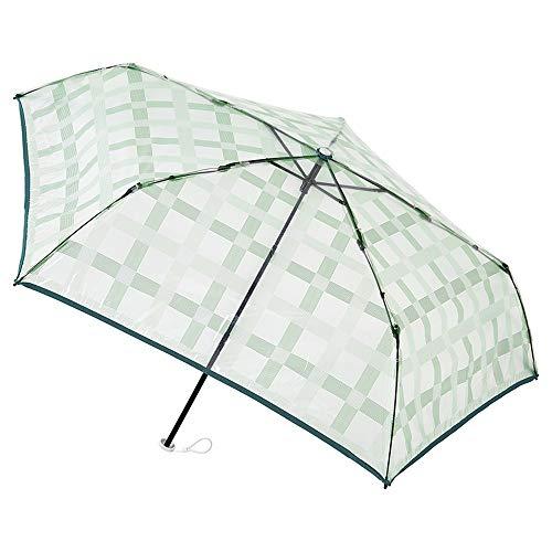 [ムーンバット] estaa(エスタ) 透明ビニール折りたたみ傘 チェック柄 グリーン 50㎝【透明・軽量】