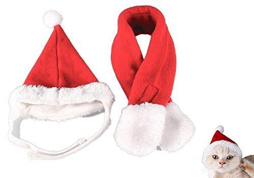 Ogquaton Niedlichen Weihnachten Haustier Hund Katze Nikolausmütze Schal rot Kostüm Anzug Set_m Größe langlebig und nützlich