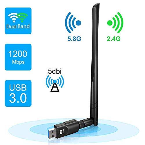 Rayfit 1200Mpbs Adaptador WiFi USB 3.0 Dual Band WiFi Dongle Inalámbrico Receptor WiFi 2.4G / 5GHz Tarjeta de Red Antena WiFi para PC Desktop Laptop Computadora Soporte Windows 10 8 7 XP Vista Mac OS