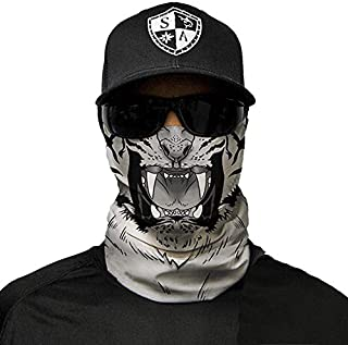 Face Shield Micro Fiber Protect from Wind, Dirt and Bugs. Worn as a Balaclava, Neck Gaiter & Head Band for Hunting, Fishing, Boating, Cycling, Paintball and Salt Lovers. - White Tiger