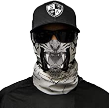 SA Company Face Shield Micro Fiber Protect from Wind, Dirt and Bugs. Worn as a Balaclava, Neck Gaiter & Head Band for Hunting, Fishing, Boating, Cycling, Paintball and Salt Lovers. - White Tiger