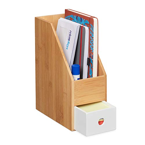 Relaxdays Revistero, para Papel A4, Organizador de Oficina, bambú, MDF, revistas, 30 x 12 x 23 cm, Color, Natural-Blanco, 1 Unidad