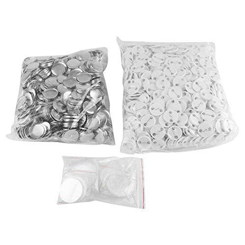 1000 piezas de 32 mm de botón en blanco, botón de insignia de metal de hierro para bricolaje, piezas de botón de insignia en blanco redondo consumibles con alfiler de metal, suministros de costura par